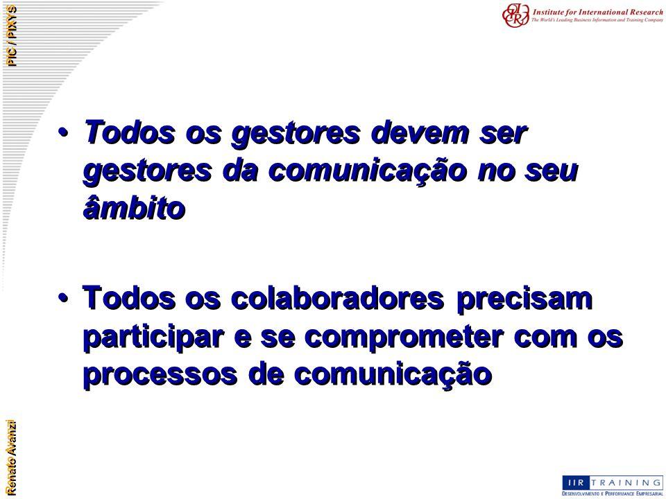 Renato Avanzi PIC / PIXYS Todos os gestores devem ser gestores da comunicação no seu âmbito Todos os colaboradores precisam participar e se compromete