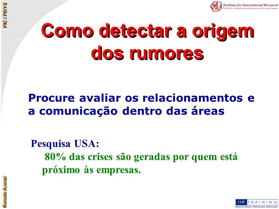 Renato Avanzi PIC / PIXYS Como detectar a origem dos rumores Procure avaliar os relacionamentos e a comunicação dentro das áreas Pesquisa USA: 80% das