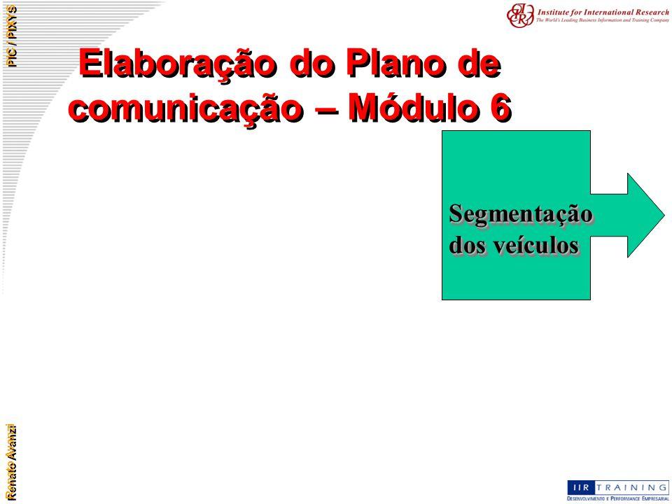 Renato Avanzi PIC / PIXYS Elaboração do Plano de comunicação – Módulo 6 Segmentação dos veículos