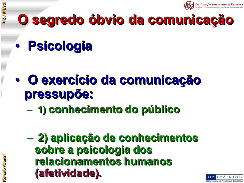Renato Avanzi PIC / PIXYS O segredo óbvio da comunicação Psicologia O exercício da comunicação pressupõe: – 1) conhecimento do público – 2) aplicação