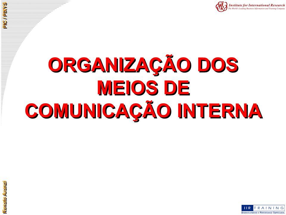 Renato Avanzi PIC / PIXYS ORGANIZAÇÃO DOS MEIOS DE COMUNICAÇÃO INTERNA