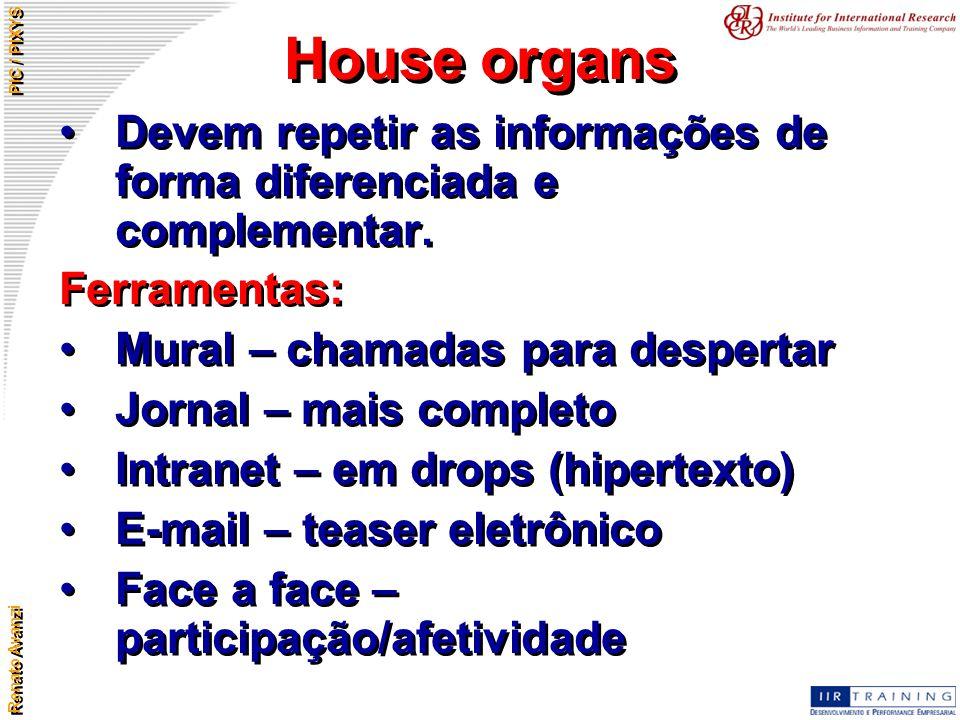 Renato Avanzi PIC / PIXYS House organs Devem repetir as informações de forma diferenciada e complementar. Ferramentas: Mural – chamadas para despertar