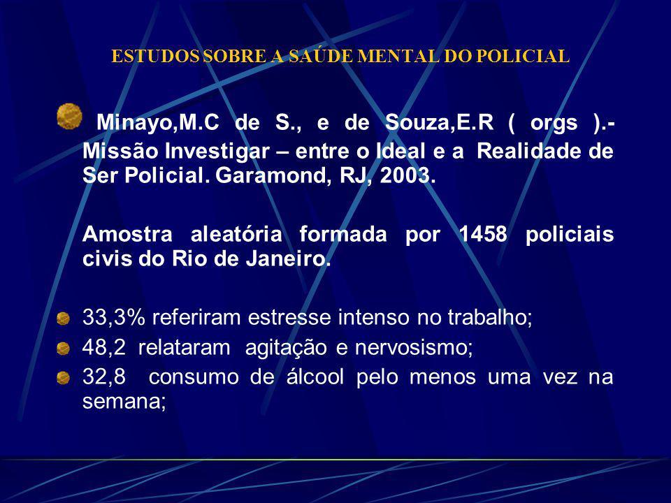 ESTUDOS SOBRE A SAÚDE MENTAL DO POLICIAL Minayo,M.C de S., e de Souza,E.R ( orgs ).- Missão Investigar – entre o Ideal e a Realidade de Ser Policial.