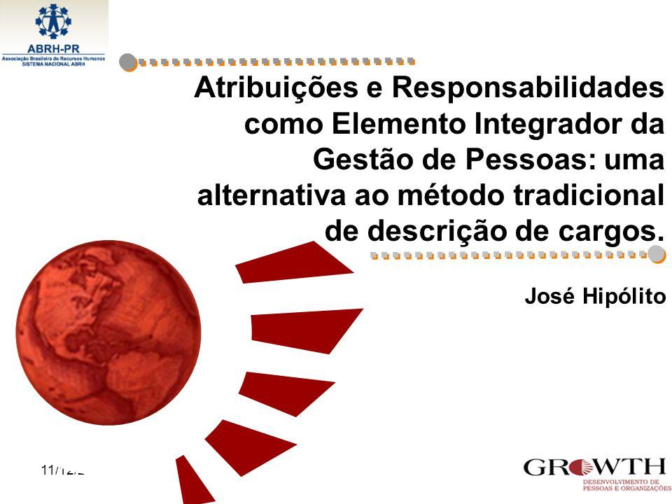 11/12/20141 Atribuições e Responsabilidades como Elemento Integrador da Gestão de Pessoas: uma alternativa ao método tradicional de descrição de cargo