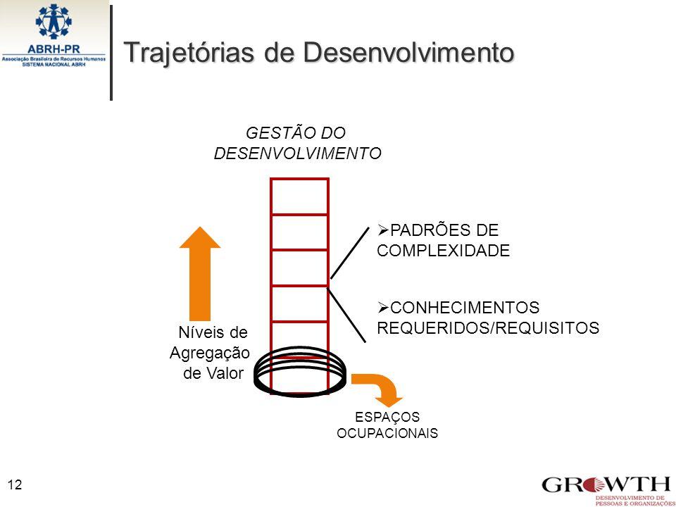 GESTÃO DO DESENVOLVIMENTO Níveis de Agregação de Valor  PADRÕES DE COMPLEXIDADE  CONHECIMENTOS REQUERIDOS/REQUISITOS ESPAÇOS OCUPACIONAIS Trajetória
