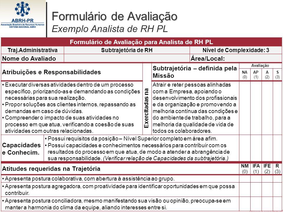 26 Formulário de Avaliação Formulário de Avaliação Exemplo Analista de RH PL Formulário de Avaliação para Analista de RH PL Traj.AdministrativaSubtraj