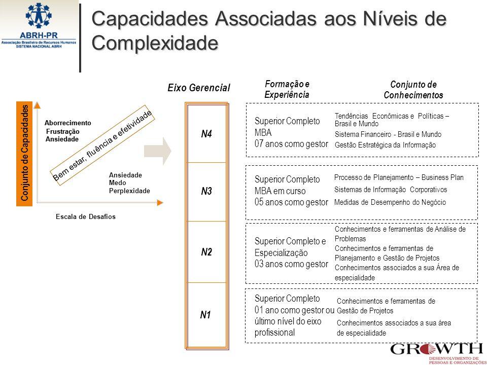 Capacidades Associadas aos Níveis de Complexidade Superior Completo MBA 07 anos como gestor Superior Completo MBA em curso 05 anos como gestor Superio
