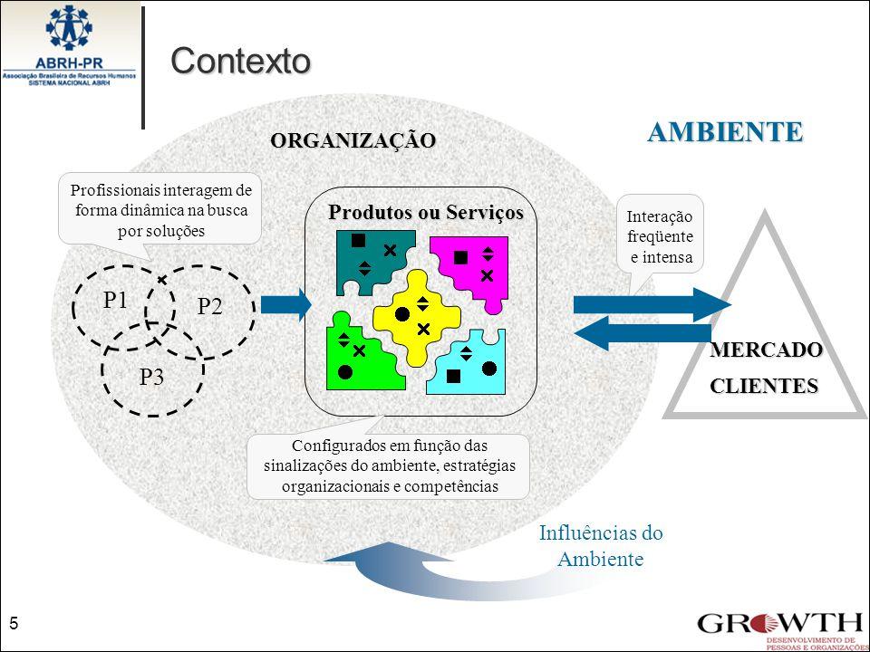Produtos ou Serviços ORGANIZAÇÃO AMBIENTE             Profissionais interagem de forma dinâmica na busca por soluções Configurados em funç