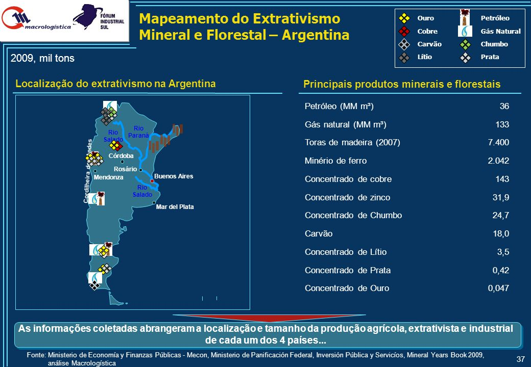 37 Mapeamento do Extrativismo Mineral e Florestal – Argentina Localização do extrativismo na Argentina Principais produtos minerais e florestais 2009,