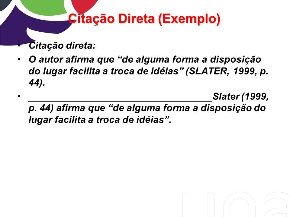 """Citação direta: O autor afirma que """"de alguma forma a disposição do lugar facilita a troca de idéias"""" (SLATER, 1999, p. 44). _________________________"""