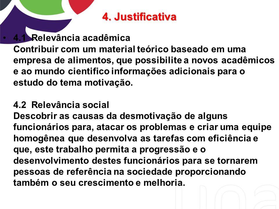 4. Justificativa 4.1 Relevância acadêmica Contribuir com um material teórico baseado em uma empresa de alimentos, que possibilite a novos acadêmicos e