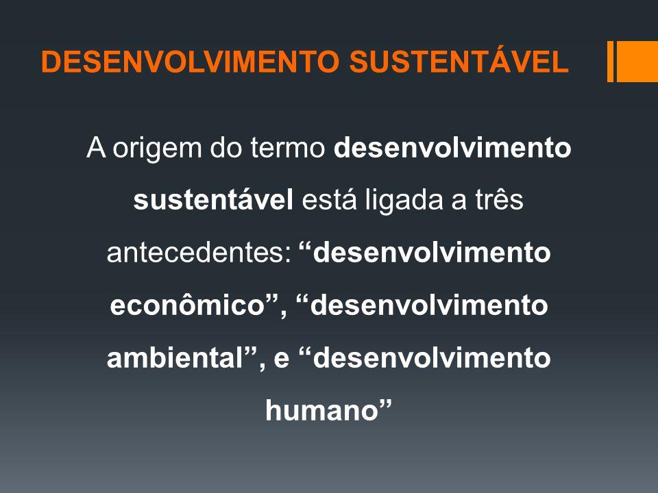 A origem do termo desenvolvimento sustentável está ligada a três antecedentes: desenvolvimento econômico , desenvolvimento ambiental , e desenvolvimento humano DESENVOLVIMENTO SUSTENTÁVEL
