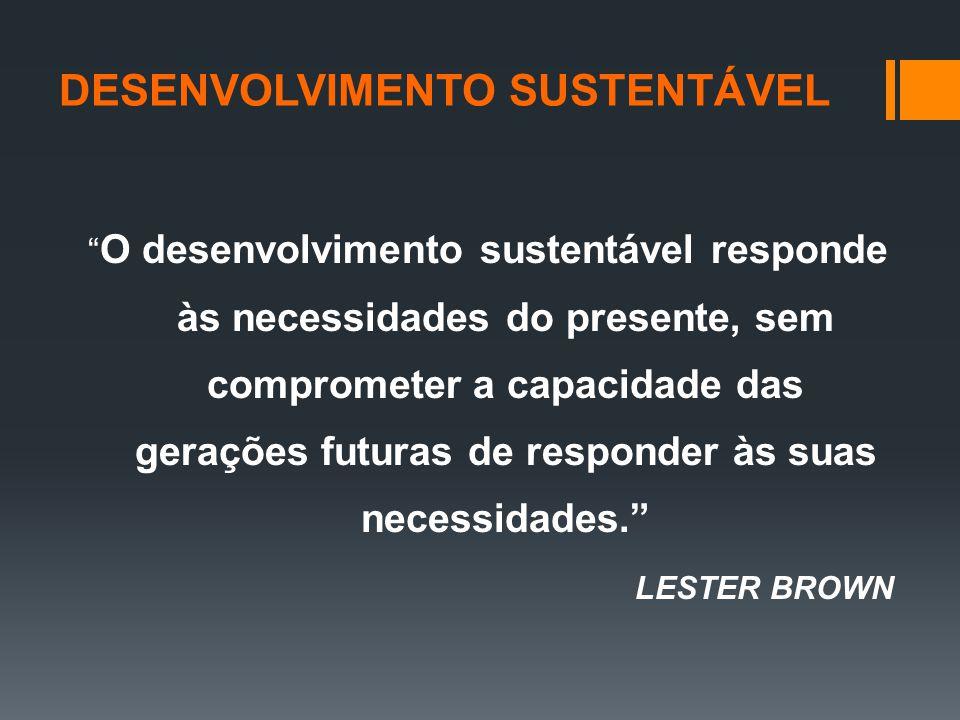 O desenvolvimento sustentável responde às necessidades do presente, sem comprometer a capacidade das gerações futuras de responder às suas necessidades. LESTER BROWN DESENVOLVIMENTO SUSTENTÁVEL