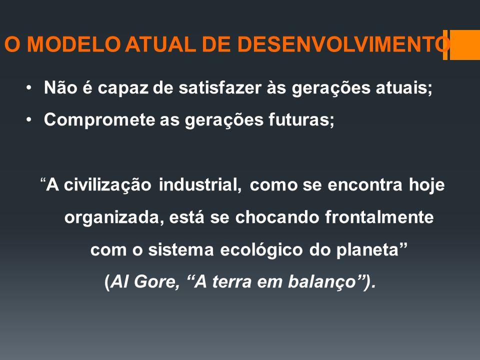 """Não é capaz de satisfazer às gerações atuais; Compromete as gerações futuras; """"A civilização industrial, como se encontra hoje organizada, está se cho"""