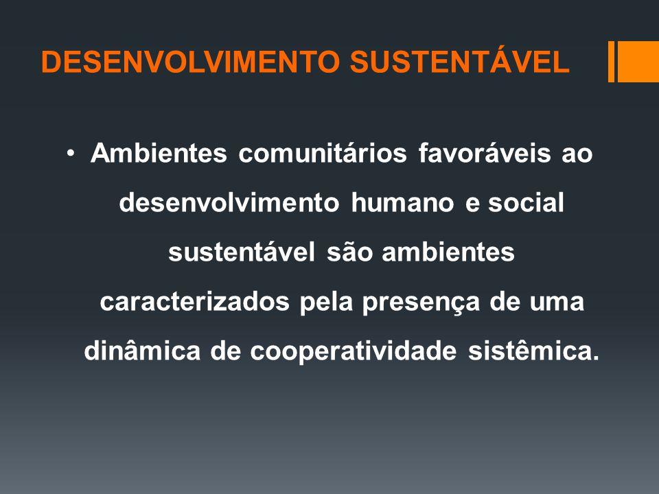 Ambientes comunitários favoráveis ao desenvolvimento humano e social sustentável são ambientes caracterizados pela presença de uma dinâmica de cooperatividade sistêmica.