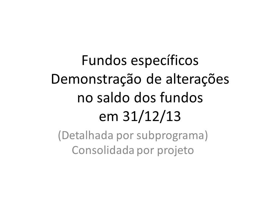 Fundos específicos Demonstração de alterações no saldo dos fundos em 31/12/13 (Detalhada por subprograma) Consolidada por projeto