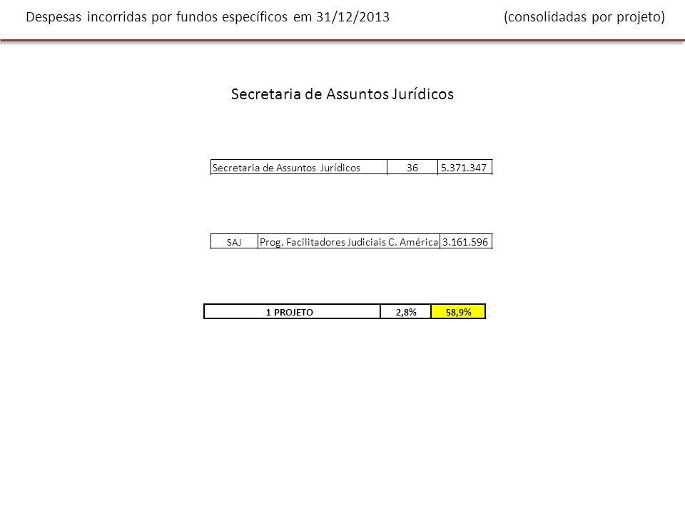 Despesas incorridas por fundos específicos em 31/12/2013 (consolidadas por projeto) Secretaria de Assuntos Políticos 12413.934.937MOE Equador 2013297.818 MOE Paraguai 2013518.404 MOE Honduras 2013531.822 Cooperação técnica em matéria eleitoral204.378 POA 2012 MAPP/OEA Fundo Comum3.821.843 Apoio ao processo de paz na Colômbia3.196.006 8.570.271 DECO Depto.