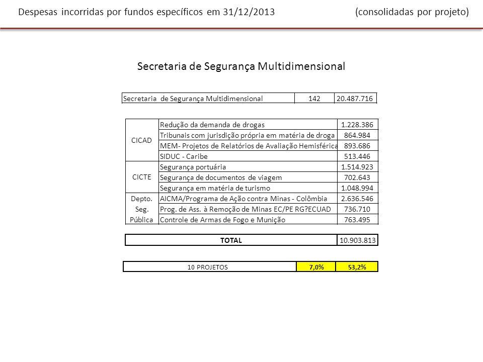 Despesas incorridas por fundos específicos em 31/12/2013 (consolidadas por projeto) Secretaria de Segurança Multidimensional 14220.487.716 Redução da demanda de drogas1.228.386 Tribunais com jurisdição própria em matéria de droga864.984 MEM- Projetos de Relatórios de Avaliação Hemisférica893.686 SIDUC - Caribe513.446 Segurança portuária1.514.923 Segurança de documentos de viagem702.643 Segurança em matéria de turismo1.048.994 AICMA/Programa de Ação contra Minas - Colômbia2.636.546 Prog.