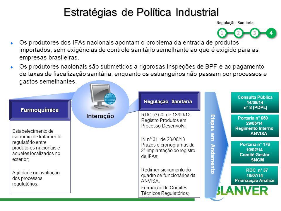 Os produtores dos IFAs nacionais apontam o problema da entrada de produtos importados, sem exigências de controle sanitário semelhante ao que é exigid