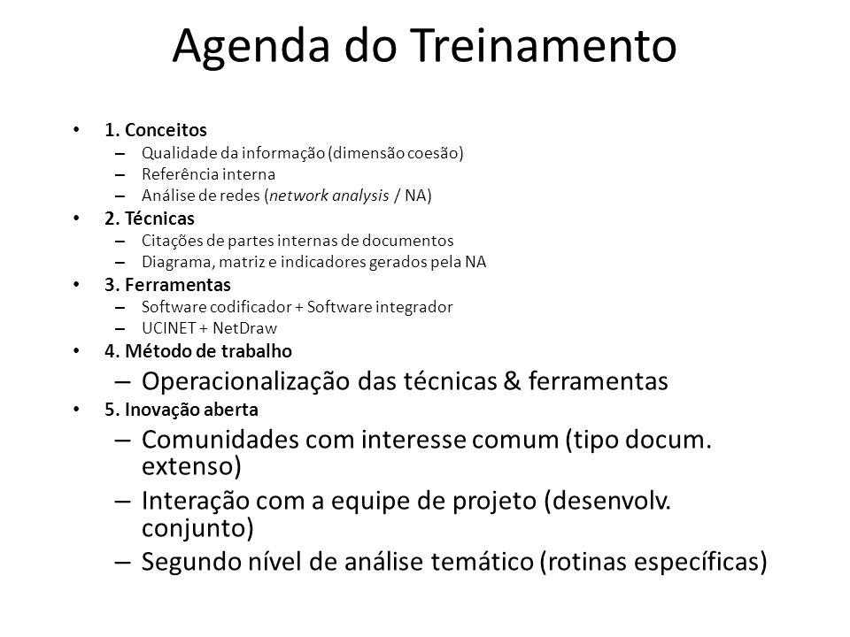 Agenda do Treinamento 1. Conceitos – Qualidade da informação (dimensão coesão) – Referência interna – Análise de redes (network analysis / NA) 2. Técn