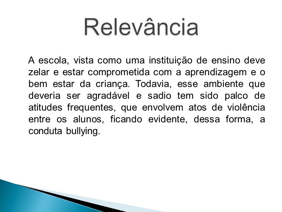  O presente trabalho traz uma compreensão do fenômeno bullying no contexto escolar acerca do desenvolvimento biopsicossocial do adolescente tendo com