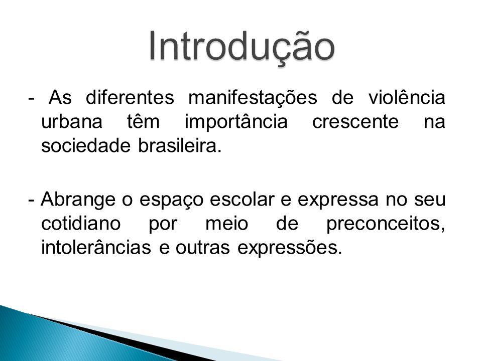 - As diferentes manifestações de violência urbana têm importância crescente na sociedade brasileira.