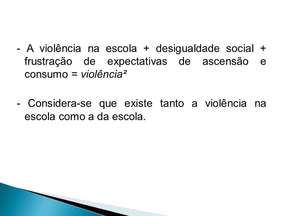 - A violência na escola + desigualdade social + frustração de expectativas de ascensão e consumo = violência² - Considera-se que existe tanto a violência na escola como a da escola.