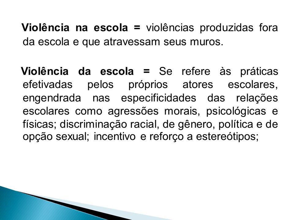 - A violência na escola + desigualdade social + frustração de expectativas de ascensão e consumo = violência² - Considera-se que existe tanto a violên