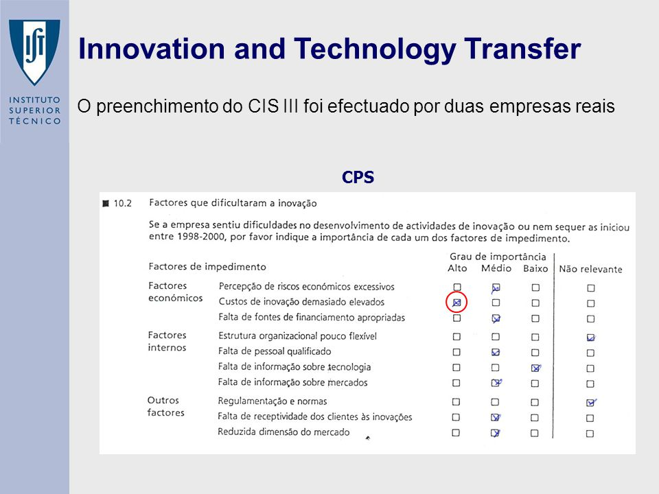 Innovation and Technology Transfer CPS O preenchimento do CIS III foi efectuado por duas empresas reais