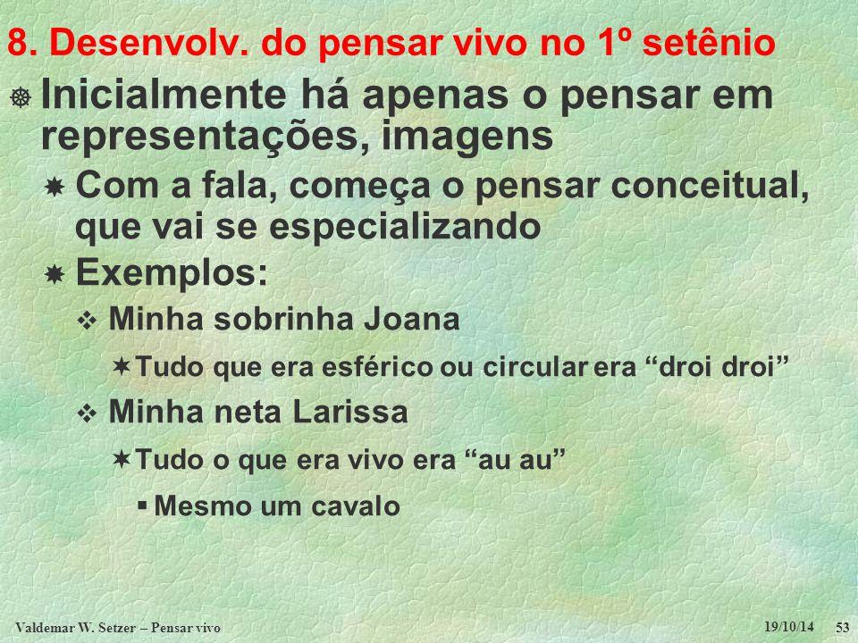 8. Desenvolv. do pensar vivo no 1º setênio  Inicialmente há apenas o pensar em representações, imagens  Com a fala, começa o pensar conceitual, que