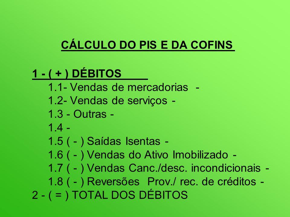 CÁLCULO DO PIS E DA COFINS 1 - ( + ) DÉBITOS 1.1- Vendas de mercadorias - 1.2- Vendas de serviços - 1.3 - Outras - 1.4 - 1.5 ( - ) Saídas Isentas - 1.6 ( - ) Vendas do Ativo Imobilizado - 1.7 ( - ) Vendas Canc./desc.