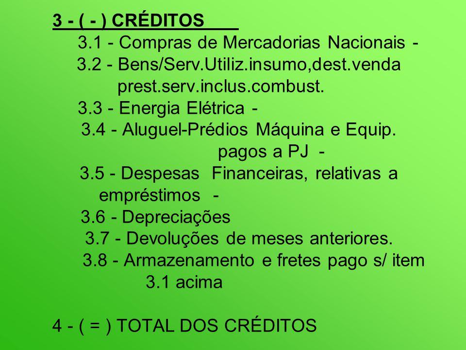 3 - ( - ) CRÉDITOS 3.1 - Compras de Mercadorias Nacionais - 3.2 - Bens/Serv.Utiliz.insumo,dest.venda prest.serv.inclus.combust.