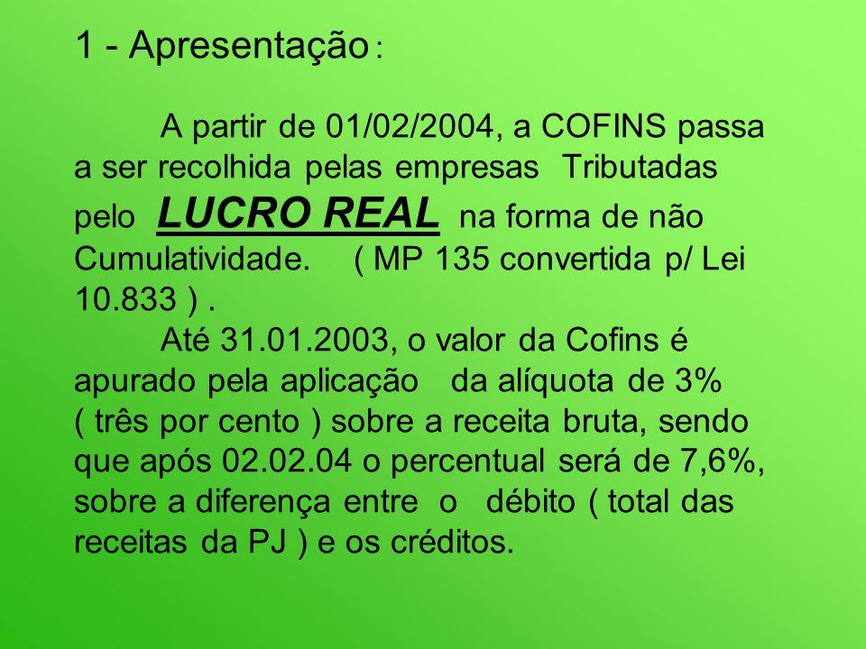 1 - Apresentação : A partir de 01/02/2004, a COFINS passa a ser recolhida pelas empresas Tributadas pelo LUCRO REAL na forma de não Cumulatividade.