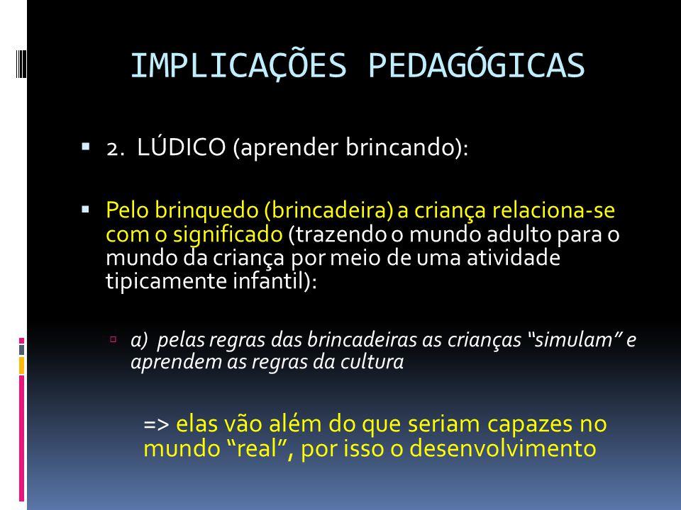 IMPLICAÇÕES PEDAGÓGICAS  2.