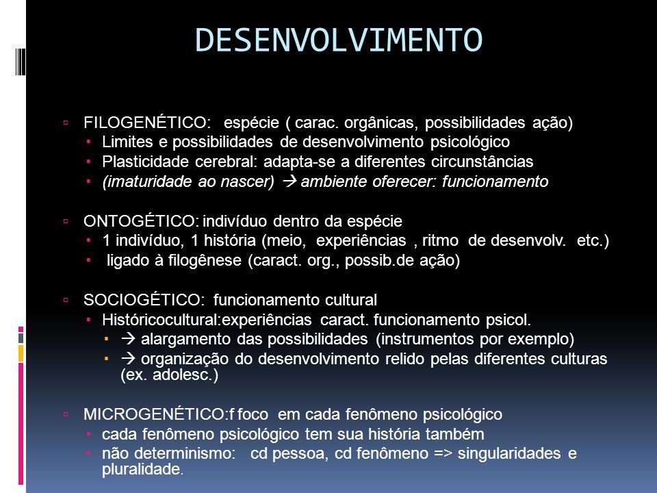 DESENVOLVIMENTO  FILOGENÉTICO: espécie ( carac.