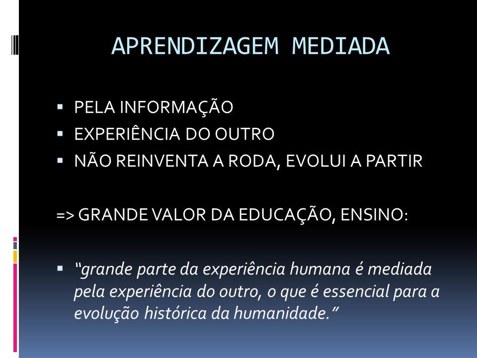 APRENDIZAGEM MEDIADA  PELA INFORMAÇÃO  EXPERIÊNCIA DO OUTRO  NÃO REINVENTA A RODA, EVOLUI A PARTIR => GRANDE VALOR DA EDUCAÇÃO, ENSINO:  grande parte da experiência humana é mediada pela experiência do outro, o que é essencial para a evolução histórica da humanidade.