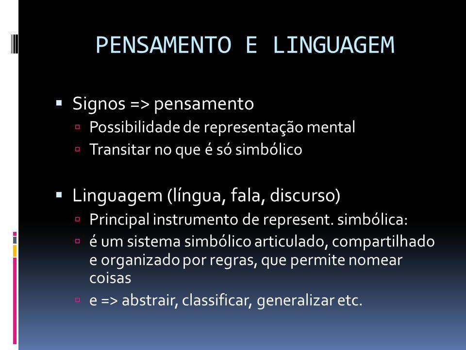 PENSAMENTO E LINGUAGEM  Signos => pensamento  Possibilidade de representação mental  Transitar no que é só simbólico  Linguagem (língua, fala, discurso)  Principal instrumento de represent.
