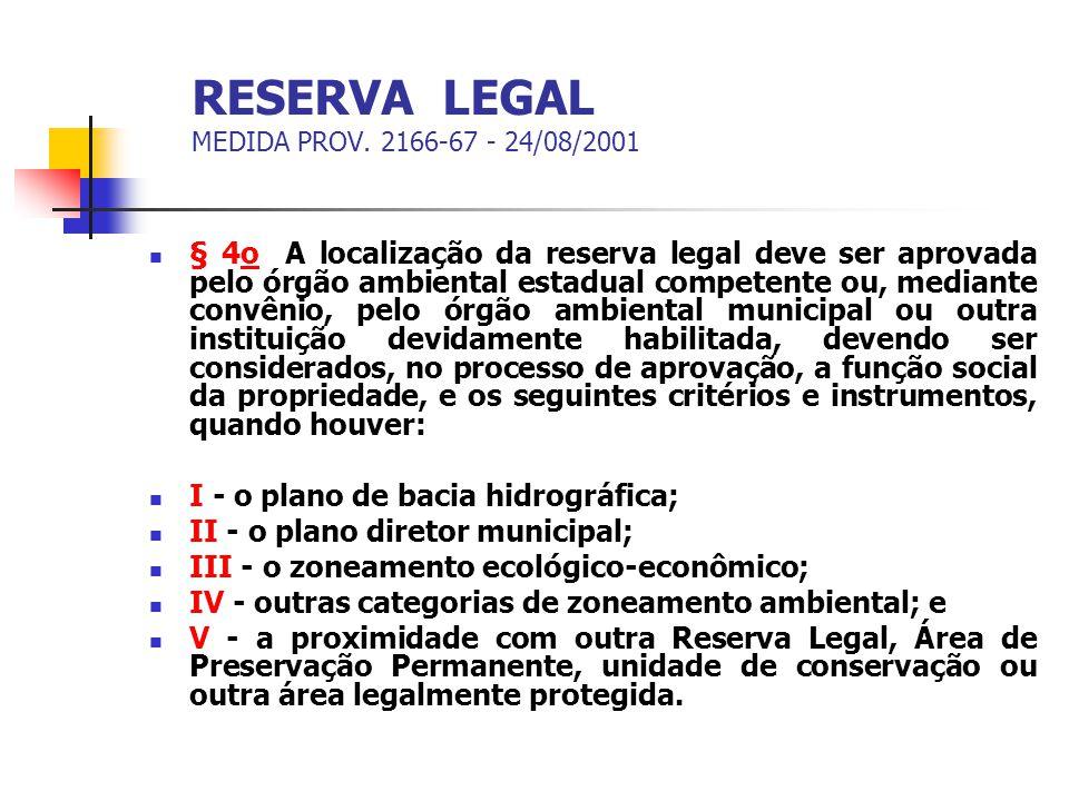 RESERVA LEGAL MEDIDA PROV. 2166-67 - 24/08/2001 § 4o A localização da reserva legal deve ser aprovada pelo órgão ambiental estadual competente ou, med