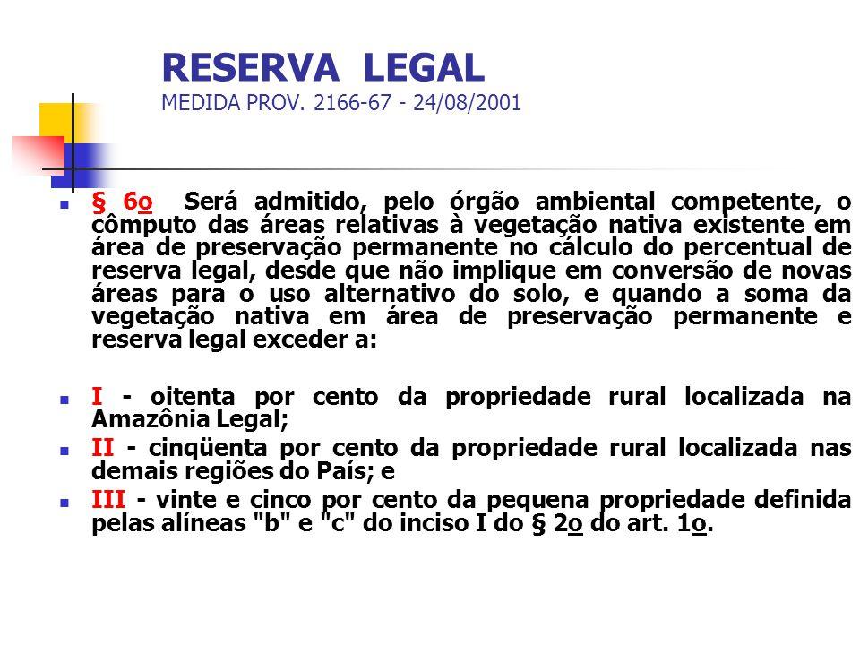 RESERVA LEGAL MEDIDA PROV. 2166-67 - 24/08/2001 § 6o Será admitido, pelo órgão ambiental competente, o cômputo das áreas relativas à vegetação nativa