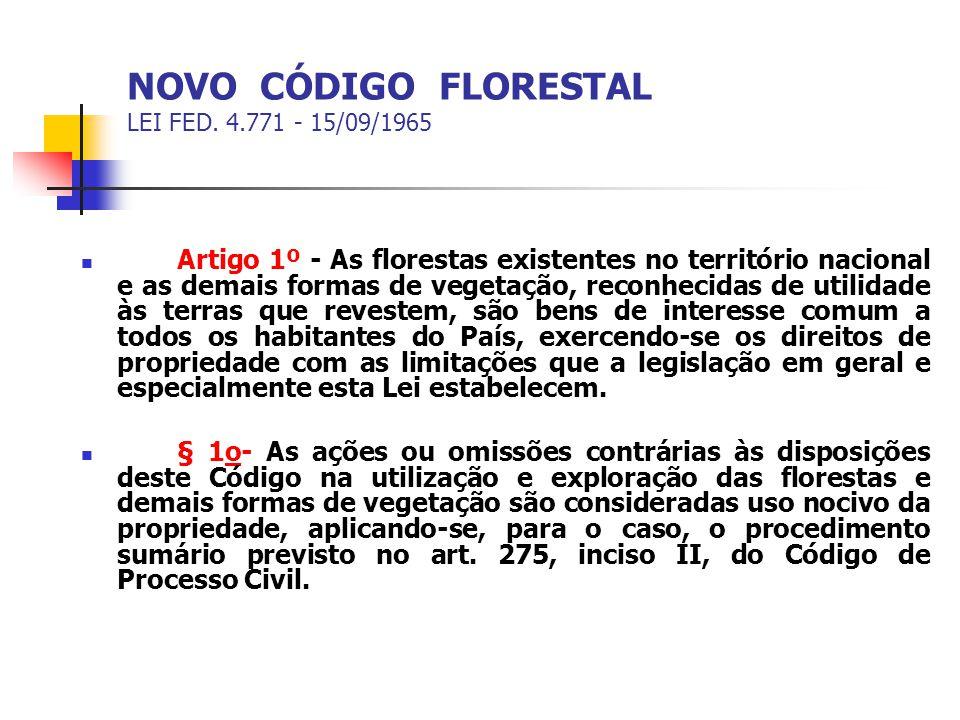 NOVO CÓDIGO FLORESTAL LEI FED. 4.771 - 15/09/1965 Artigo 1º - As florestas existentes no território nacional e as demais formas de vegetação, reconhec