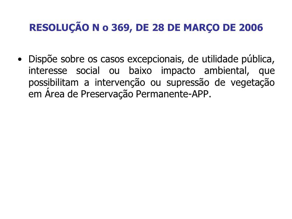 RESOLUÇÃO N o 369, DE 28 DE MARÇO DE 2006 Dispõe sobre os casos excepcionais, de utilidade pública, interesse social ou baixo impacto ambiental, que p