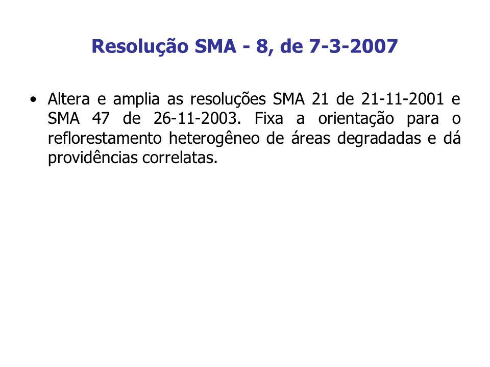 Resolução SMA - 8, de 7-3-2007 Altera e amplia as resoluções SMA 21 de 21-11-2001 e SMA 47 de 26-11-2003. Fixa a orientação para o reflorestamento het