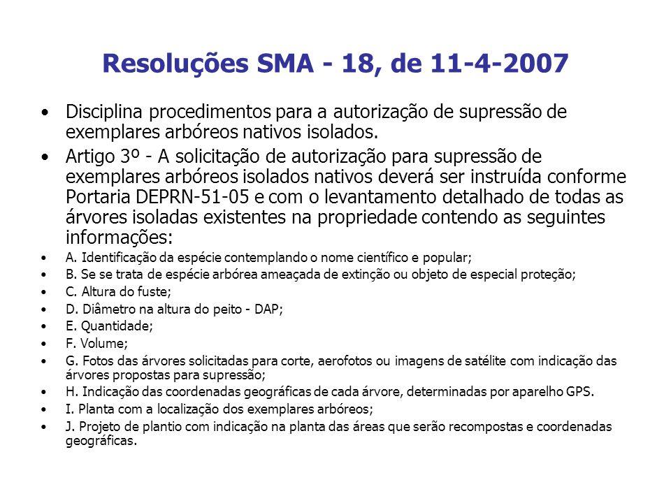 Resoluções SMA - 18, de 11-4-2007 Disciplina procedimentos para a autorização de supressão de exemplares arbóreos nativos isolados. Artigo 3º - A soli