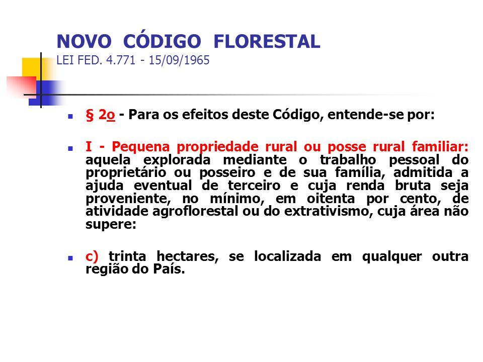 NOVO CÓDIGO FLORESTAL LEI FED. 4.771 - 15/09/1965 § 2o - Para os efeitos deste Código, entende-se por: I - Pequena propriedade rural ou posse rural fa