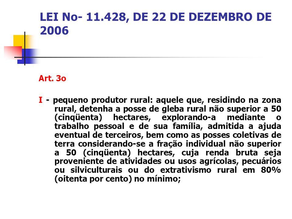 LEI No- 11.428, DE 22 DE DEZEMBRO DE 2006 Art. 3o I - pequeno produtor rural: aquele que, residindo na zona rural, detenha a posse de gleba rural não