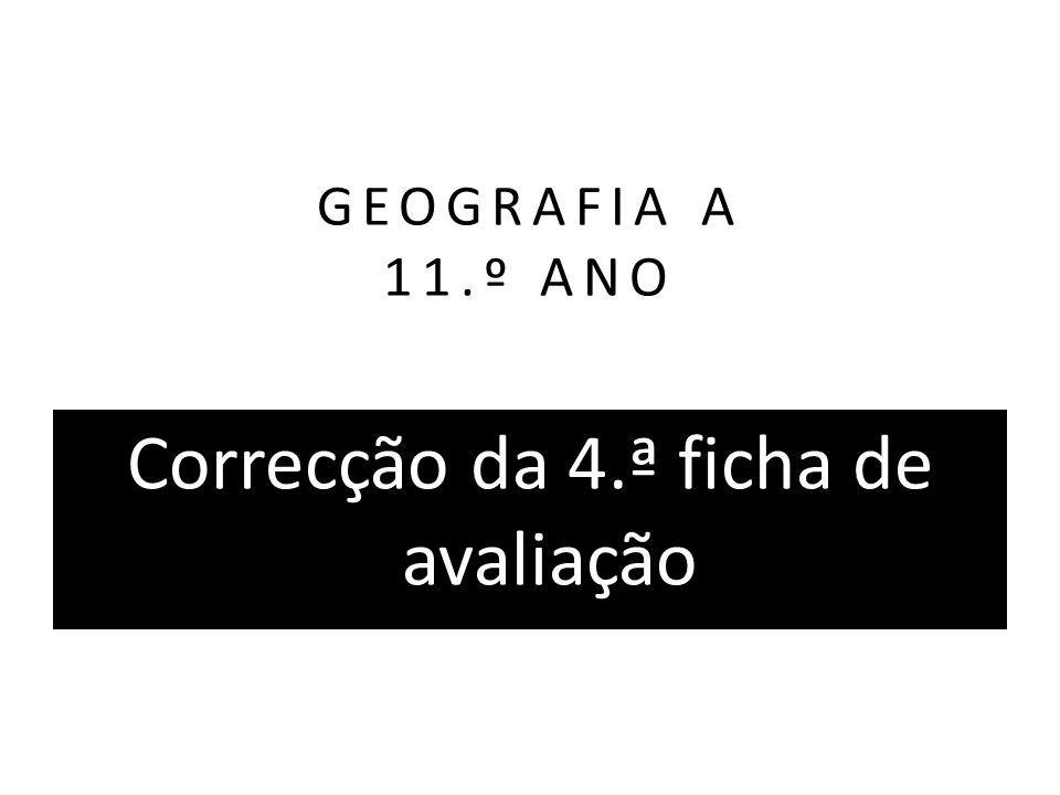 GEOGRAFIA A 11.º ANO Correcção da 4.ª ficha de avaliação