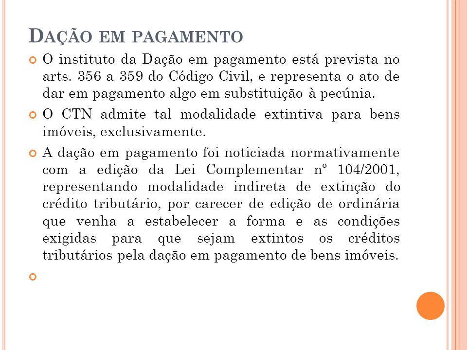 D AÇÃO EM PAGAMENTO O instituto da Dação em pagamento está prevista no arts. 356 a 359 do Código Civil, e representa o ato de dar em pagamento algo em