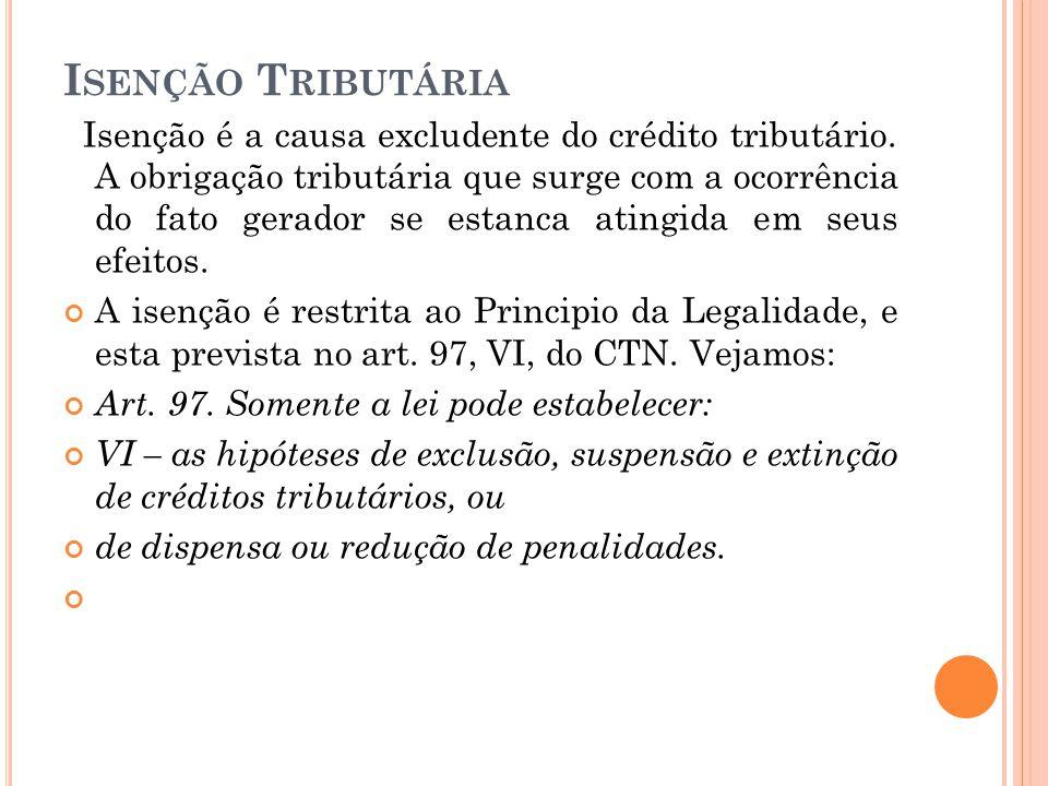 I SENÇÃO T RIBUTÁRIA Isenção é a causa excludente do crédito tributário. A obrigação tributária que surge com a ocorrência do fato gerador se estanca