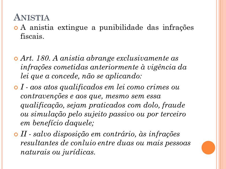A NISTIA A anistia extingue a punibilidade das infrações fiscais. Art. 180. A anistia abrange exclusivamente as infrações cometidas anteriormente à vi