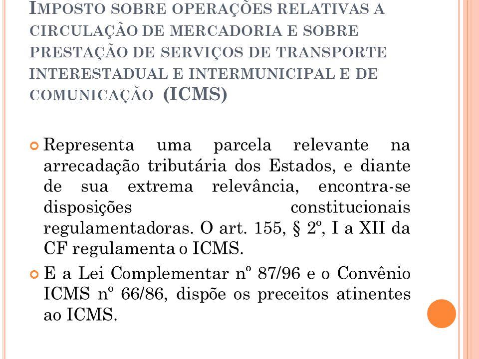 I MPOSTO SOBRE OPERAÇÕES RELATIVAS A CIRCULAÇÃO DE MERCADORIA E SOBRE PRESTAÇÃO DE SERVIÇOS DE TRANSPORTE INTERESTADUAL E INTERMUNICIPAL E DE COMUNICA